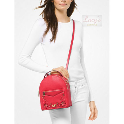 Michael Kors Backpacks Flower Patterns Casual Style Studded 3WAY Plain Leather 9