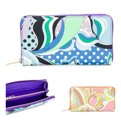 Tropical Patterns Leather Long Wallets