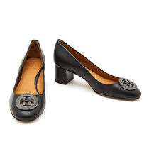 Tory Burch Round Toe Plain Leather Block Heels Office Style