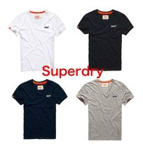 Superdry Street Style V-Neck Plain Cotton Short Sleeves