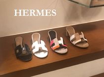 HERMES Leather Block Heels Heeled Sandals