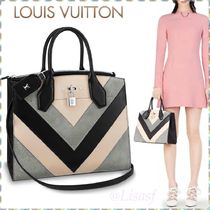 Louis Vuitton CITY STEAMER Blended Fabrics A4 3WAY Bi-color Leather Elegant Style Totes