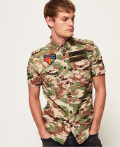 Superdry Camouflage Tropical Patterns Cotton Short Sleeves Shirts