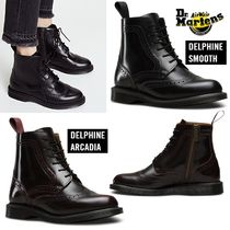 Dr Martens DELPHINE Round Toe Rubber Sole Plain Leather Ankle & Booties Boots
