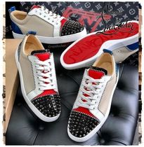 Christian Louboutin LOUIS Stripes Blended Fabrics Studded Plain Leather Sneakers