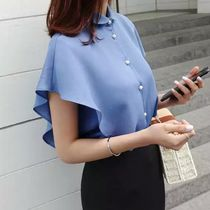 Short Plain Short Sleeves With Jewels Office Style Cropped