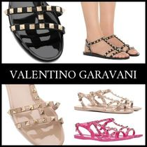 VALENTINO Rubber Sole Studded Plain Flip Flops PVC Clothing
