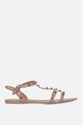 ae066d2aed20 ... VALENTINO Flat Rubber Sole Studded Plain Flip Flops PVC Clothing 6 ...