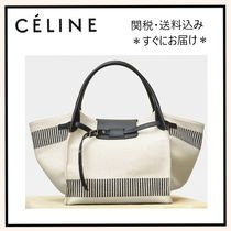 CELINE Stripes Canvas A4 Plain Elegant Style Shoulder Bags