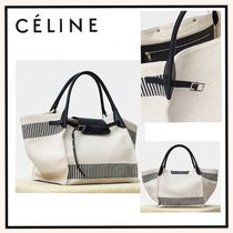 CELINE Big Bag Stripes Canvas Blended Fabrics A4 Plain Elegant Style