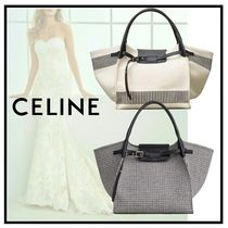 CELINE Big Bag Stripes Canvas A4 Plain Elegant Style Shoulder Bags