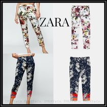 ZARA Flower Patterns Casual Style Cropped & Capris Pants