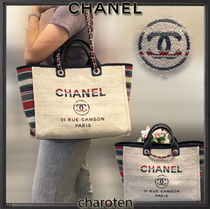 CHANEL DEAUVILLE Stripes Casual Style Unisex Cambus A4 3WAY Chain Plain Totes