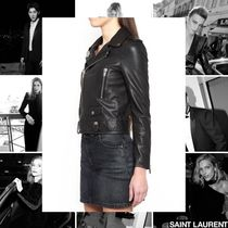 Saint Laurent Street Style Plain Leather Medium Biker Jackets