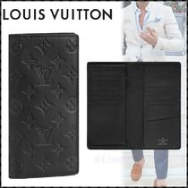 Louis Vuitton BRAZZA Monogram Street Style Leather Folding Wallet Long Wallets