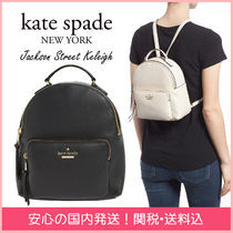 kate spade new york Stripes Plain Leather Elegant Style Backpacks