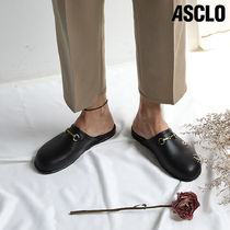 ASCLO Plain Toe Loafers Street Style Plain Leather