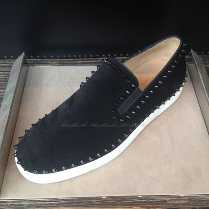 b4b5bc9584f Christian Louboutin PIK BOAT Suede Studded Plain Loafers & Slip-ons