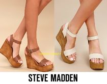 Steve Madden Open Toe Street Style Plain Leather Party Style