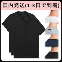PRADA U-Neck Plain Cotton Short Sleeves T-Shirts
