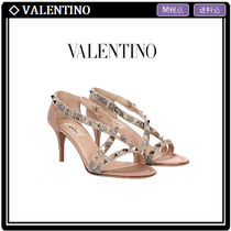 VALENTINO Open Toe Studded Pin Heels With Jewels Elegant Style