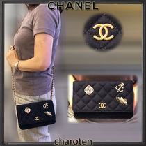 CHANEL CHAIN WALLET Calfskin Blended Fabrics 3WAY Chain Plain Elegant Style