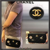 CHANEL CHAIN WALLET Calfskin Blended Fabrics 3WAY Bi-color Chain Plain