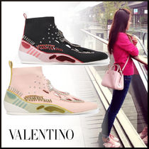 VALENTINO Round Toe Rubber Sole Casual Style Plain With Jewels