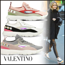 VALENTINO Round Toe Rubber Sole Casual Style Suede Plain With Jewels