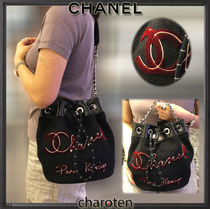 CHANEL ICON Calfskin Blended Fabrics Bi-color Chain Plain Purses