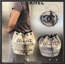 CHANEL DEAUVILLE Stripes Casual Style Unisex Cambus Blended Fabrics Chain