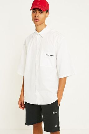 Button-down Street Style Cotton Short Sleeves Shirts