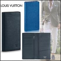 Louis Vuitton BRAZZA Blended Fabrics Street Style Plain Leather Folding Wallet