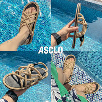 ASCLO Tweed Street Style Plain Shower Shoes Shower Sandals