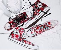 CONVERSE ALL STAR Flower Patterns Rubber Sole Casual Style Unisex Street Style
