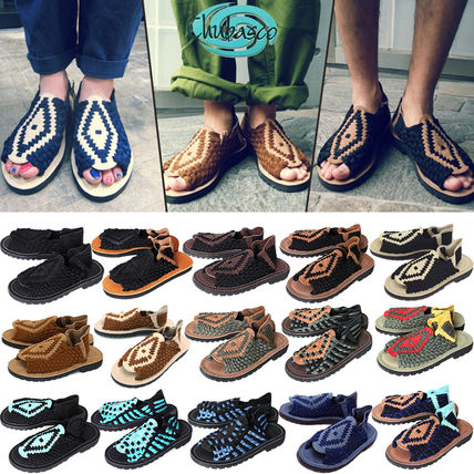 Other Check Patterns Open Toe Rubber Sole Casual Style