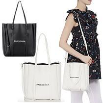 BALENCIAGA EVERYDAY TOTE Casual Style 2WAY Plain Leather Totes