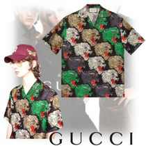 GUCCI Silk Street Style Other Animal Patterns Short Sleeves Shirts