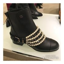 CHANEL Round Toe Blended Fabrics Street Style Plain Leather