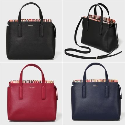 Stripes 2WAY Leather Office Style Shoulder Bags