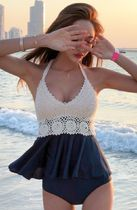 Blended Fabrics Bi-color Plain Halter Beach Cover-Ups