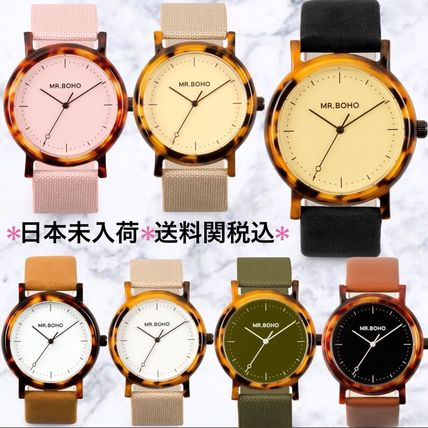 Acetate Casual Style Unisex Round Quartz Watches