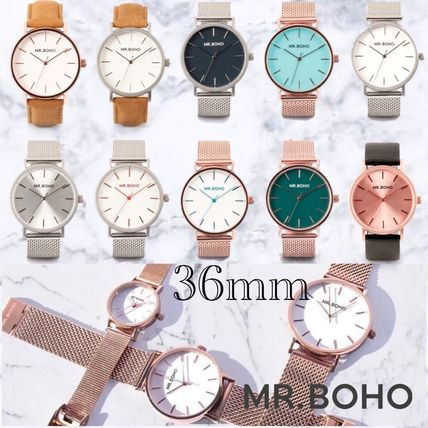 Unisex Round Quartz Watches Stainless Office Style