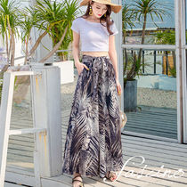 Tropical Patterns Casual Style Chiffon Long