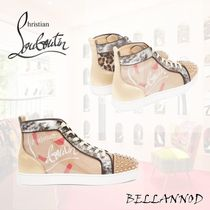 Christian Louboutin Leopard Patterns Studded PVC Clothing Sneakers