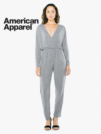 Dungarees Casual Style V-Neck Long Sleeves Plain Cotton Long