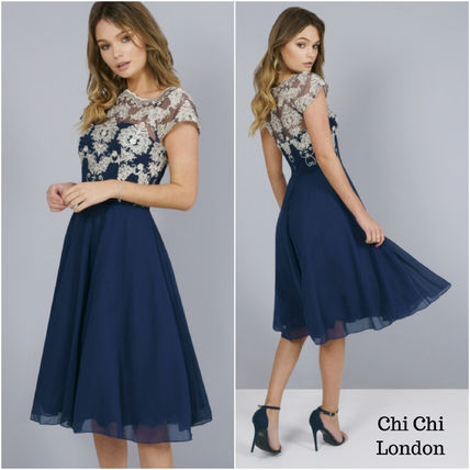 Flared Medium Short Sleeves Party Style Lace Dresses