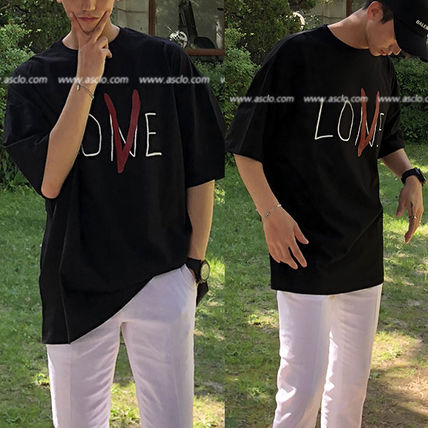 ASCLO More T-Shirts Street Style U-Neck Cotton Short Sleeves Oversized T-Shirts 5