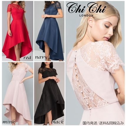 Flared Short Sleeves Party Style Dresses