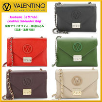 VALENTINO Chain Plain Leather Elegant Style Shoulder Bags